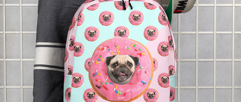 Pug Strawberry Donut Backpack