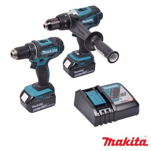 סט מקיטהDLX2227TJ Makita פטישון + אימפקט + פוטר + 2 סוללות 4AH 18V