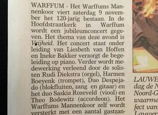 9 November concert in Warffum