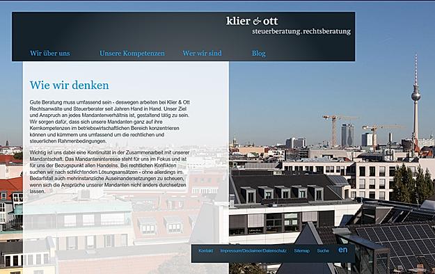 Homepage Kanzlei Klier & Ott
