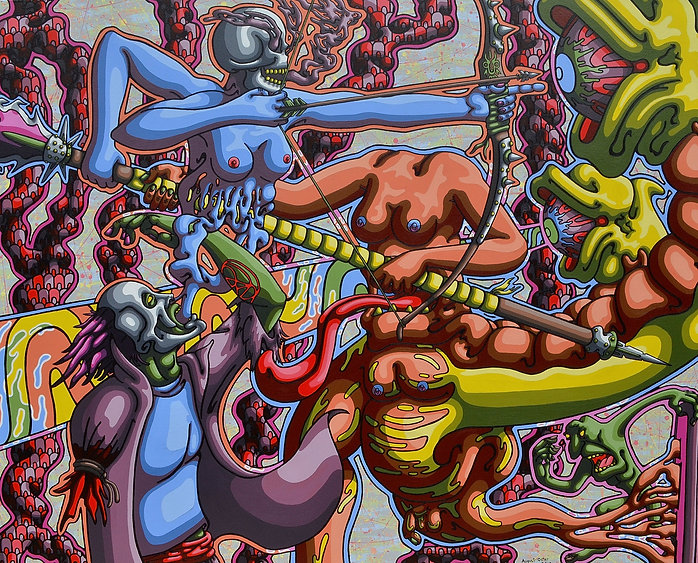 Lowbrow, painting, August Oster, pop surrealism, cartoon, artist, psychadelic, surreal, Ballet of the Uncreator