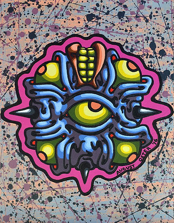 Lowbrow, painting, August Oster, pop surrealism, cartoon, artist, psychadelic, surreal, Gorthok's Head