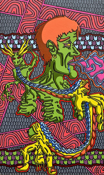 Lowbrow, painting, August Oster, pop surrealism, cartoon, artist, psychadelic, surreal, The Guardians and Distraction