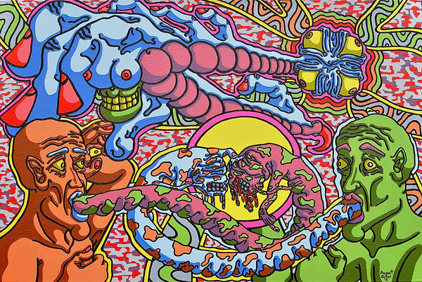 Lowbrow, painting, August Oster, pop surrealism, cartoon, artist, psychadelic, surreal, Shaman of Conflict