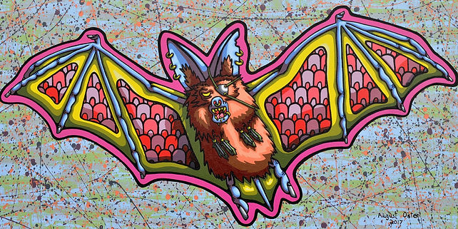 Lowbrow, painting, August Oster, pop surrealism, cartoon, artist, psychadelic, surreal, bat, Sir Fluffy Nibblens