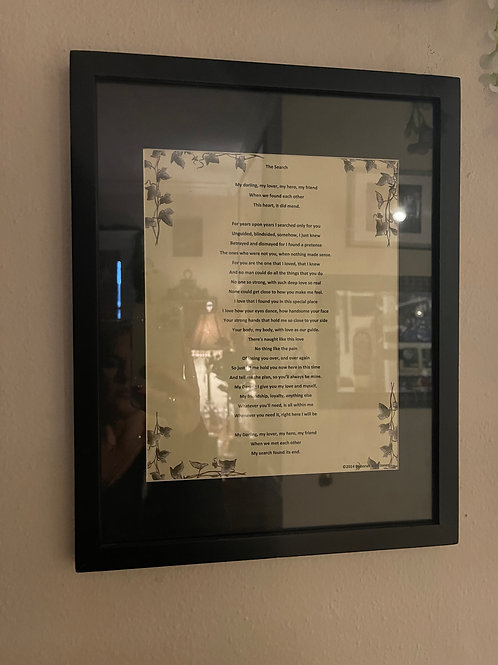 'The Search' 8x10 Poem Print with Framing Mat and Frame