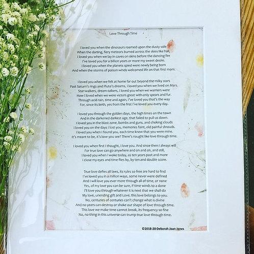 """Love Through Time' 8x10 Poem Print with Framing Mat"