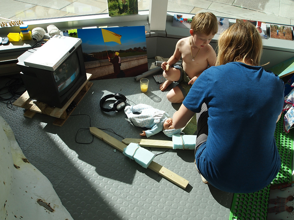 Working in the Project Space with artist/technician Emma Wilde