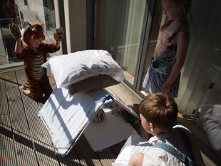 Tiger on the balcony then currents in Grafton Park