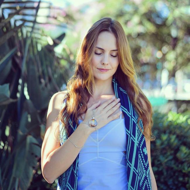 yoga teacher, lauren eckstrom with prana necklace