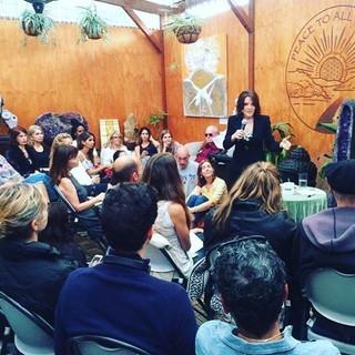 international public figure Marianne Williamson speaking at Mystic Journey Bookstore