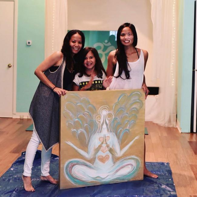 commissioned art for yogabliss studio with yoga teacher, lara estrada