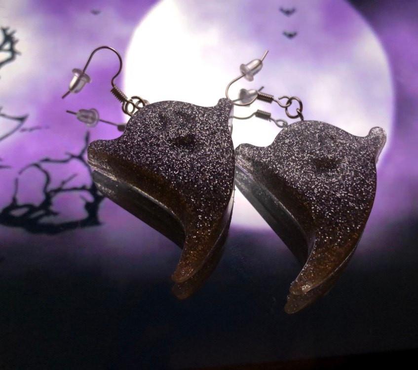 silver glitter resin earrings