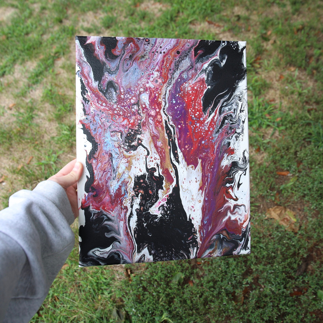 "(Black/white/purple/gold painting), 14x11"""