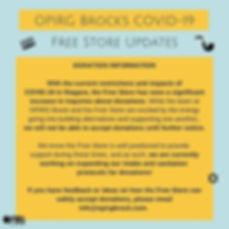 OPIRG Brock's COVID-19Free Store Update