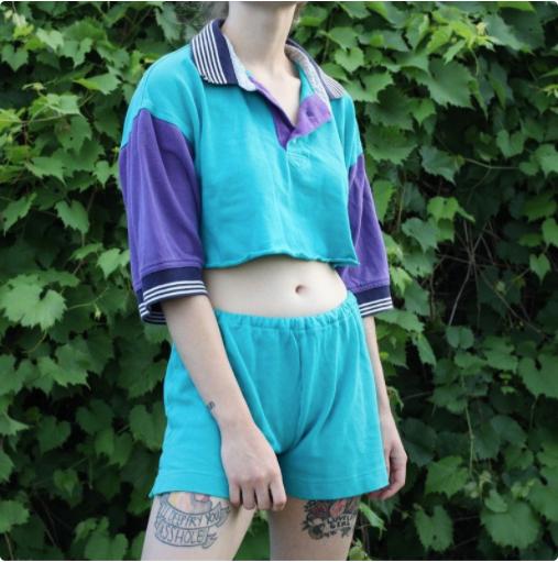 Blue and Purple Colour Block Two Piece Set - Shirt & Shorts