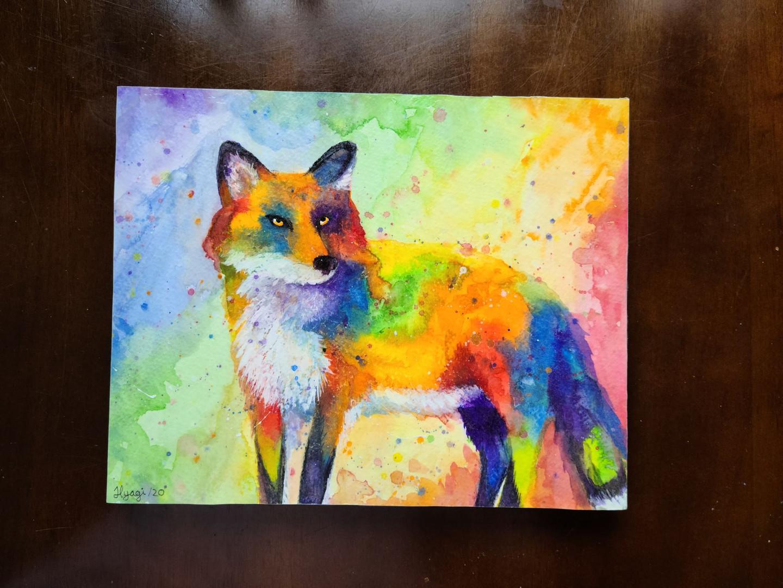 """Rainbow Fox, 8"""" x 10"""""""