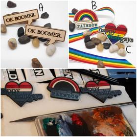 OK Boomer, Rainbow, Happy Holidays Pins