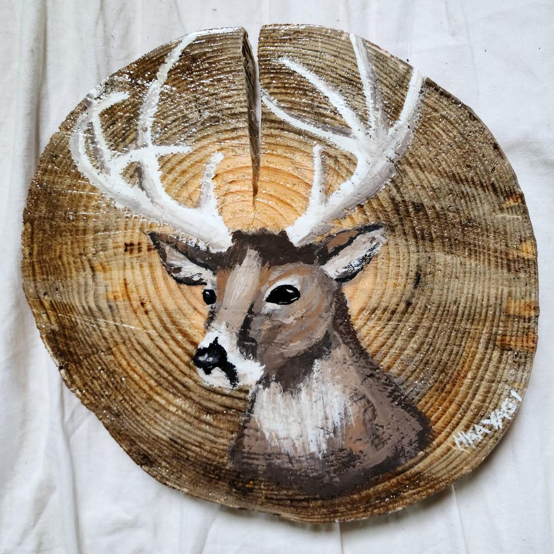 """Deer On Pine, 8"""""""