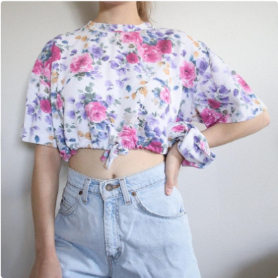 Floral Drawstring Crop and Scrunchie Set