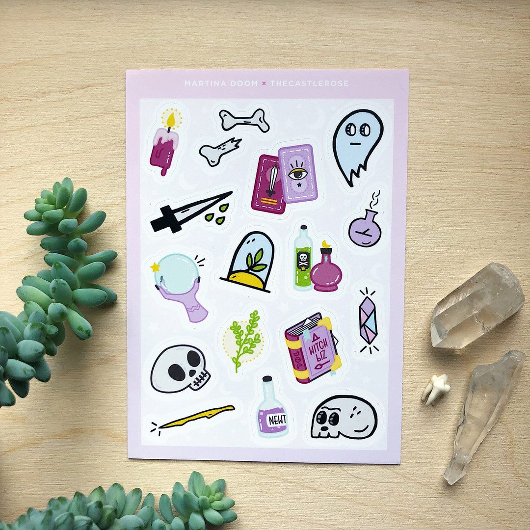 witchy sticker sheet, 16 stickers per sheet