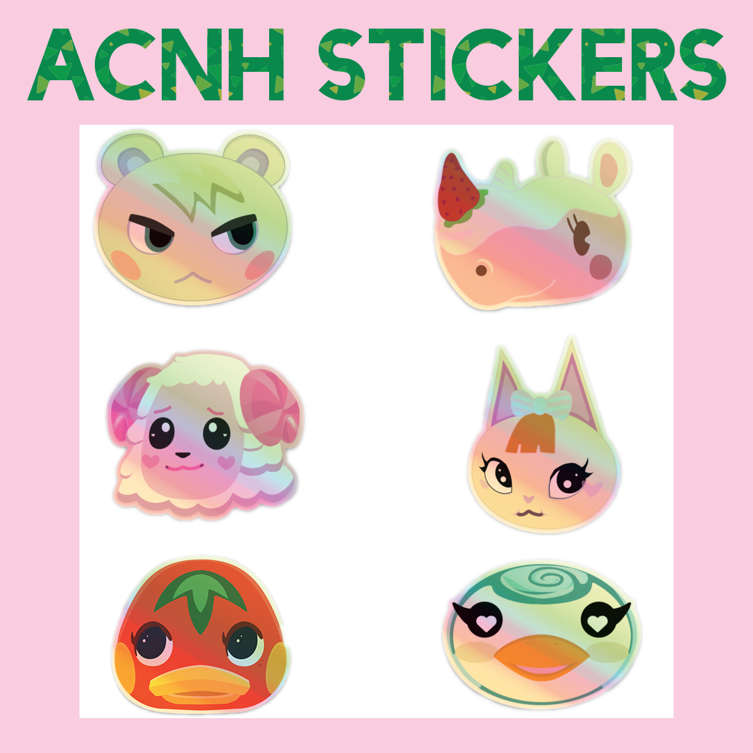 Animal Crossing Holographic Stickers, 3""