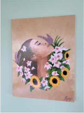 """Girl with Flowers, 11"""" x 14"""""""