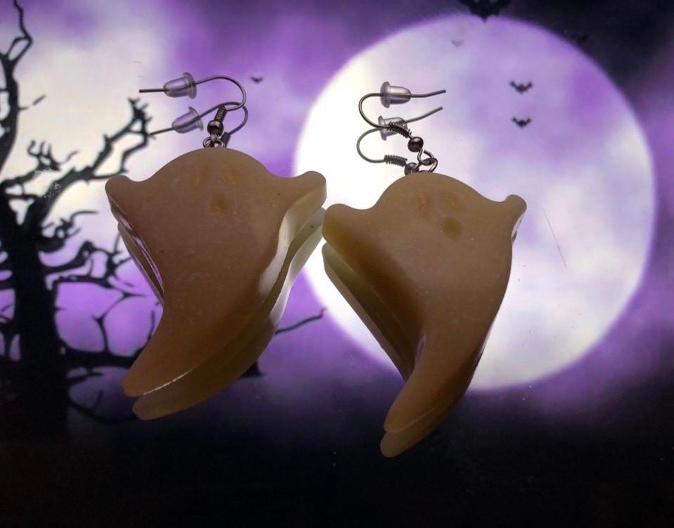 white resin ghost earrings