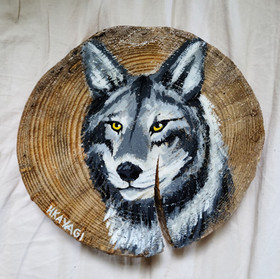 "Wolf On Pine, 8"""