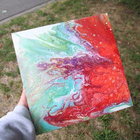 "Orange/white/blue/purple painting), 12x12"""