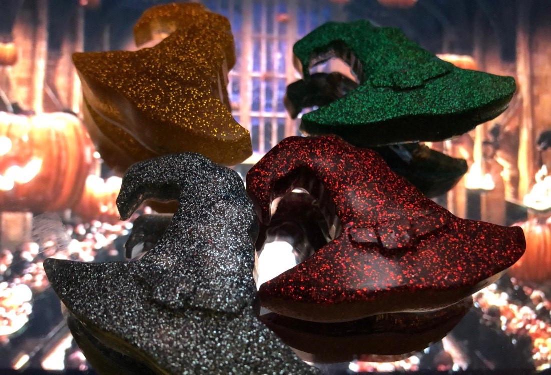 Hogwarts house hat glitter resin pins