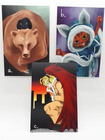 "Bear, ""Ellie"", ""Hawks"" Prints, 4x6 Print Set"