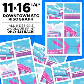 11×16.25″ Downtown STC Risograph
