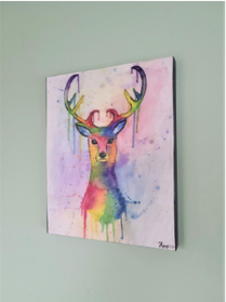 "Rainbow Deer, 8"" x 10"""