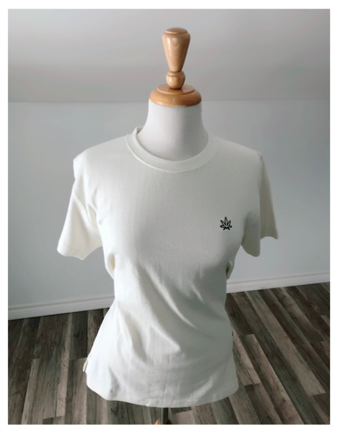 Hemp & Organic Cotton Embroidered Tee Shirt with Leaf Logo