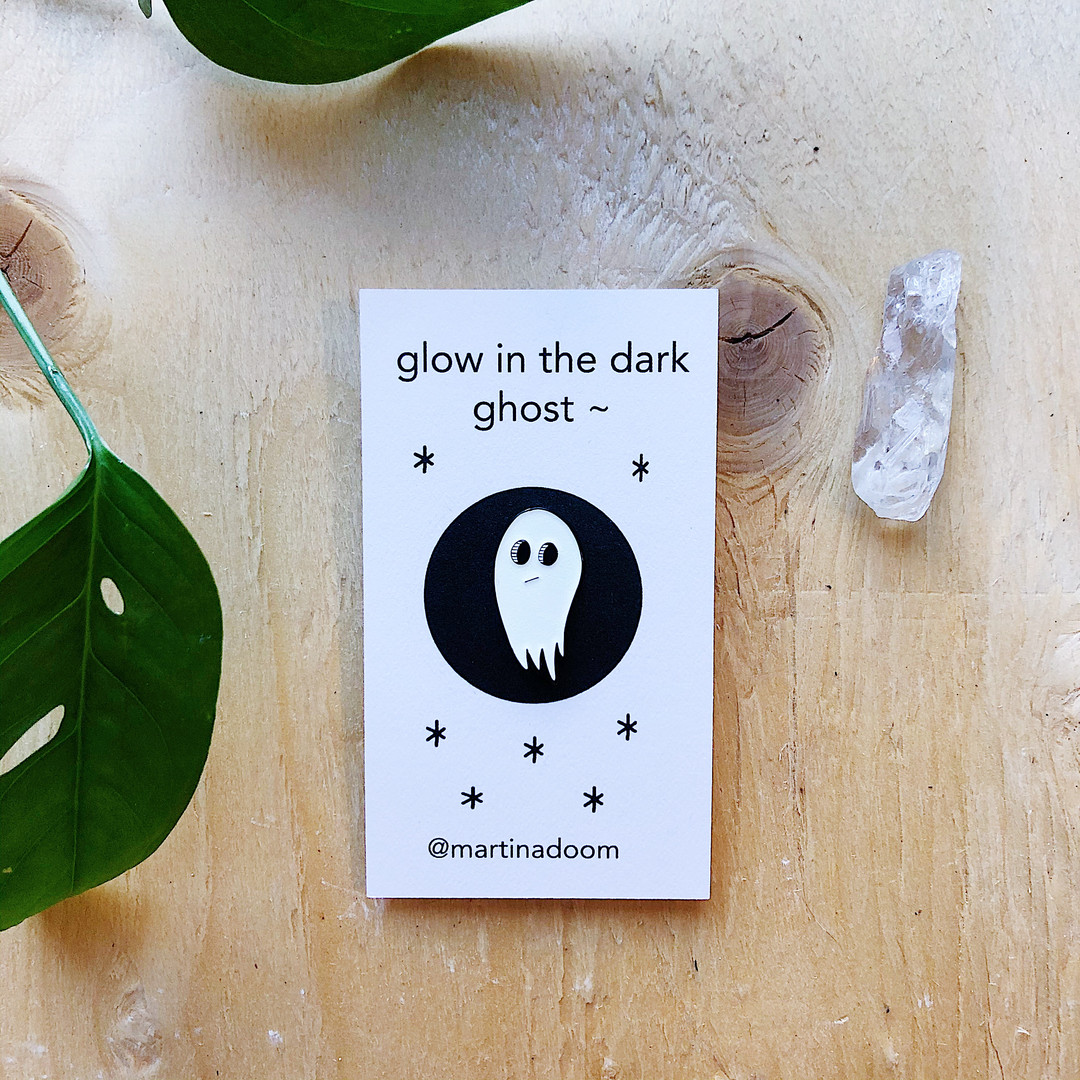 ghost enamel pin, 1' x 1.5'