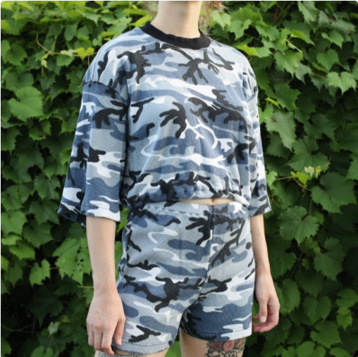 Blue Camouflage Two Piece Set