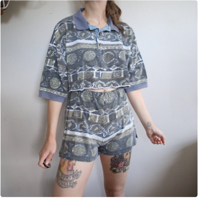 Funky Patterned Two Piece Set - Shirt & Shorts