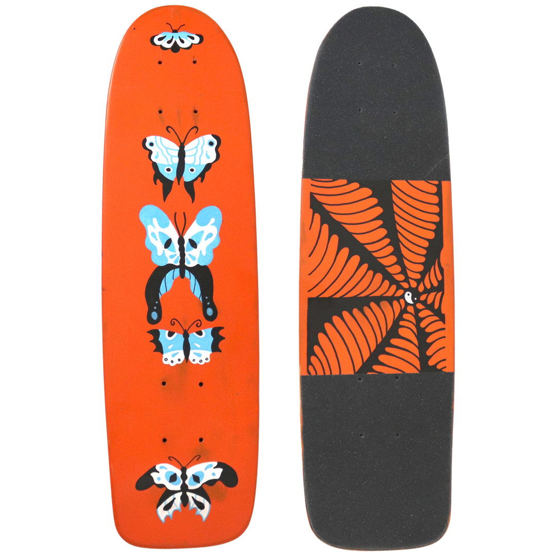 """Butterfly Hand Painted Skateboard, 7""""x26"""""""