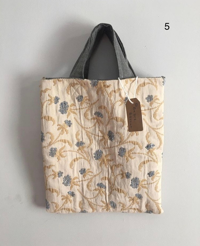 Beige & Blue floral Short Handled Tote bag with hand stitched details