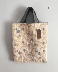 Beige & Blue floral Short Handled Tote bag with hand stitched details