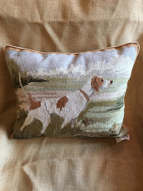 Pointer In Field Needlepoint Pillow