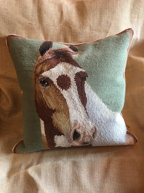 Painted Horse Needlepoint Pillow