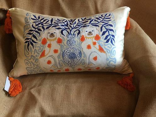 Paige Henri Silk Foo Dogs Pillow