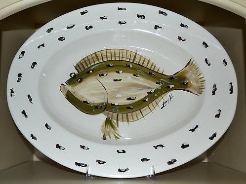 Flat Fish Rimmed Oval Bowl