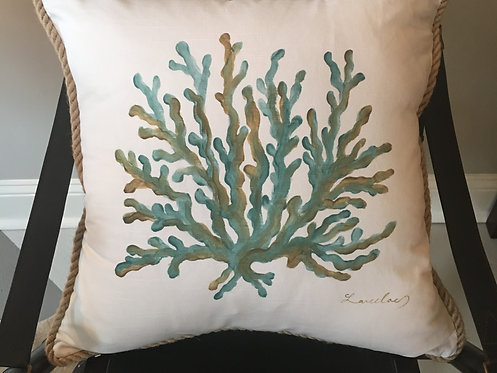Hand Painted Coral Pillow