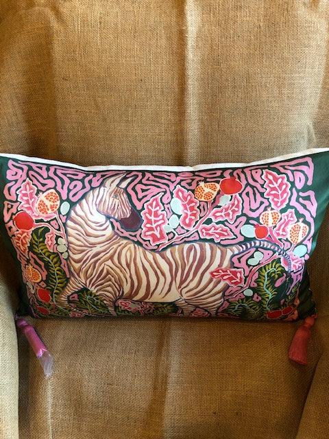 Paige Henri silk lumbar pillow/16 x 22/canvas back