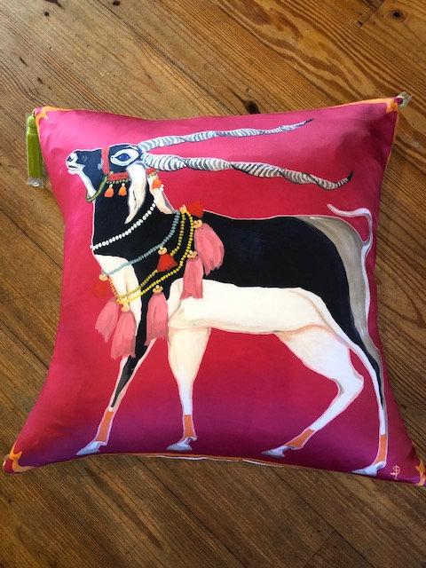 """Paige Henri silk 22 x 22"""" pillow/canvas back"""