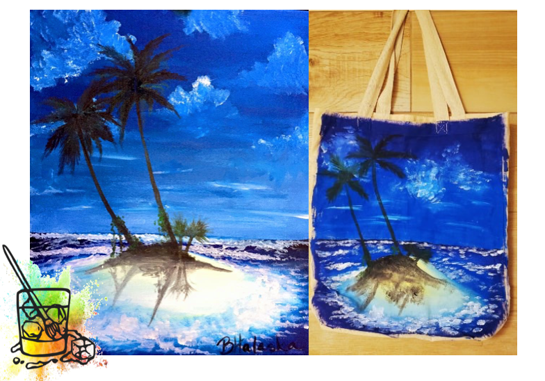 Private Paint N Sip Party Tote Bags