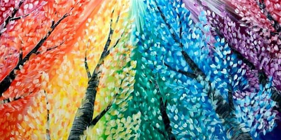 """""""Rainbow Trees"""" Paint & Sip at Russell House"""